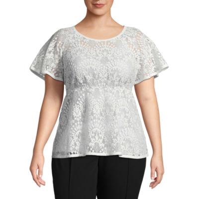 Worthington Short Sleeve Scoop Neck Woven Lace Blouse - Plus