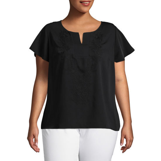 Liz Claiborne Split Neck Shell- Plus
