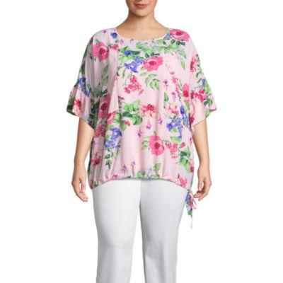 Liz Claiborne Flutter Sleeve Tie Hem Floral Top- Plus
