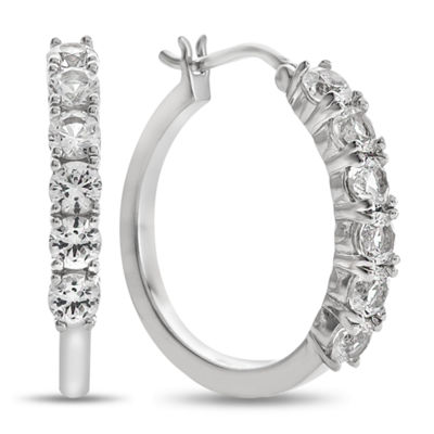 Lab Created White Sapphire Sterling Silver Hoop Earrings