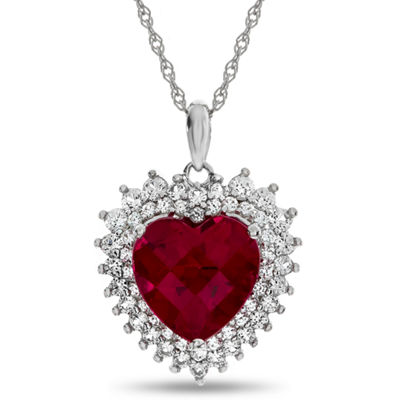 Womens Lab Created Red Ruby Heart Pendant Necklace