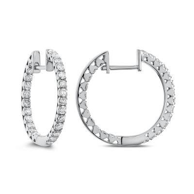 1 CT. T.W. GENUINE White Diamond 14K Gold 19.9mm Hoop Earrings