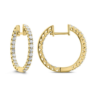 1 CT. T.W. GENUINE White Diamond 14K Gold 19.9mm Hoop Earrings