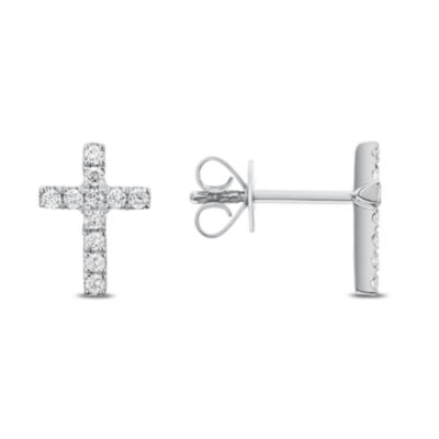 1/4 CT. T.W. Genuine White Diamond 14K Gold Cross Drop Earrings