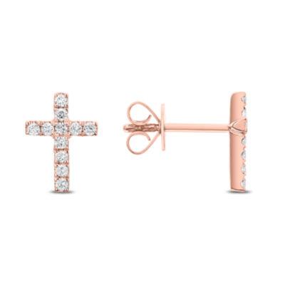 1/4 CT. T.W. Genuine White Diamond 14K Gold Cross Drop Earrings