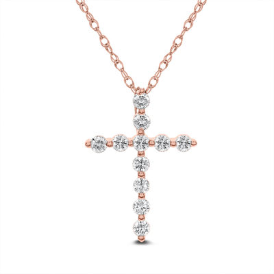 Womens 1/2 CT. T.W. Genuine White Diamond 14K Rose Gold Cross Pendant Necklace