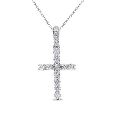 Womens 3/4 CT. T.W. Genuine White Diamond 14K Gold Cross Pendant Necklace