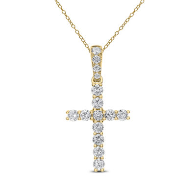 Womens 3/4 CT. T.W. Genuine White Diamond 14K Gold Cross Pendant Necklace