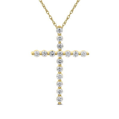 Womens 1 3/4 CT. T.W. Genuine White Diamond 14K Gold Cross Pendant Necklace