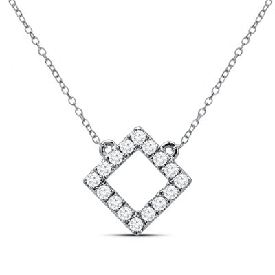 Womens 1/7 CT. T.W. Genuine White Diamond 14K Gold Pendant Necklace