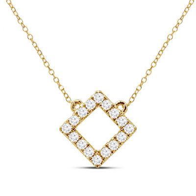 Womens 1/7 CT. T.W. Genuine White Diamond 14K Gold Pendant Necklace