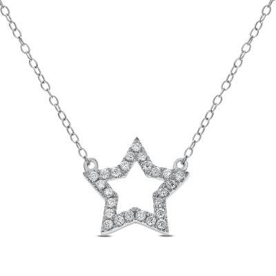 Womens 1/5 CT. T.W. Genuine White Diamond 14K Gold Pendant Necklace