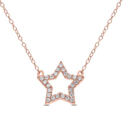Womens 1/5 CT. T.W. White Diamond 14K Gold Pendant Necklace