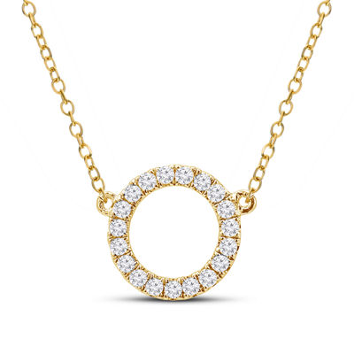 Womens 1/5 CT. T.W. Genuine White Diamond 14K Gold Pendant Necklace
