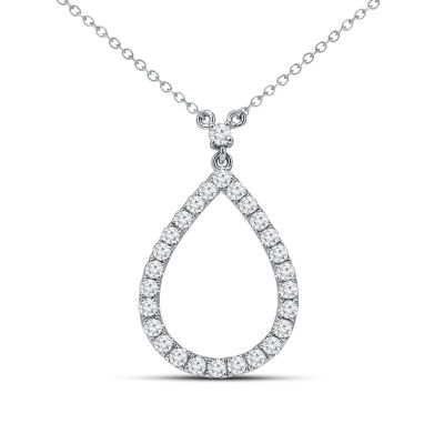 Womens 5/8 CT. T.W. Genuine White Diamond 14K Gold Pendant Necklace
