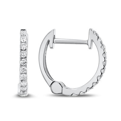 1/7 CT. T.W. GENUINE White Diamond 14K Gold 11.8mm Hoop Earrings