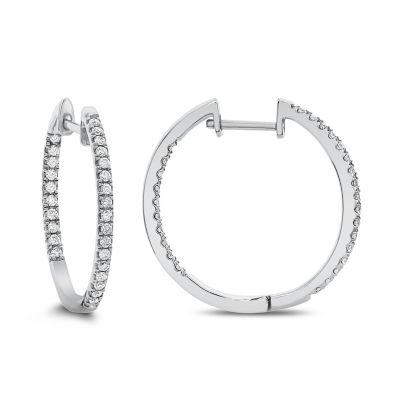 1/2 CT. T.W. Genuine White Diamond 14K Gold 24.1mm Hoop Earrings