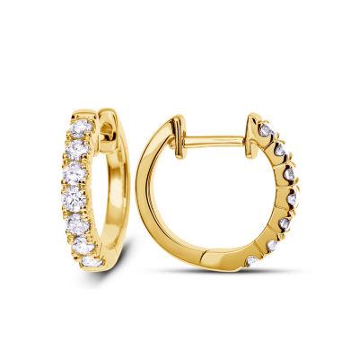 1/2 CT. T.W. GENUINE White Diamond 14K Gold 18.2mm Hoop Earrings