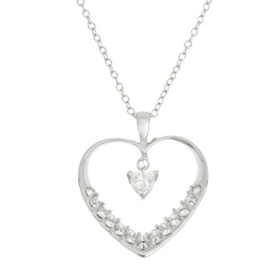 Diamonart Womens 1 5/8 CT. T.W. White Cubic Zirconia Sterling Silver Heart Pendant Necklace