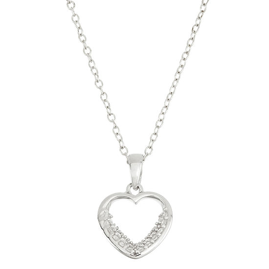 Diamonart Womens 3/8 CT. T.W. White Cubic Zirconia Sterling Silver Heart Pendant Necklace