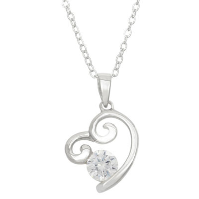 Diamonart Womens 1 1/5 CT. T.W. White Cubic Zirconia Sterling Silver Heart Pendant Necklace
