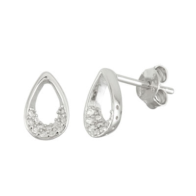 Diamonart 1/3 CT. T.W. White Cubic Zirconia Sterling Silver 10.2mm Stud Earrings