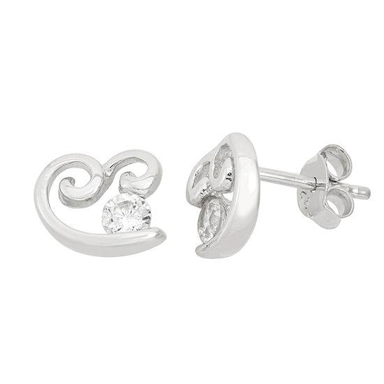 Diamonart 5/8 CT. T.W. White Cubic Zirconia Sterling Silver 10.2mm Stud Earrings