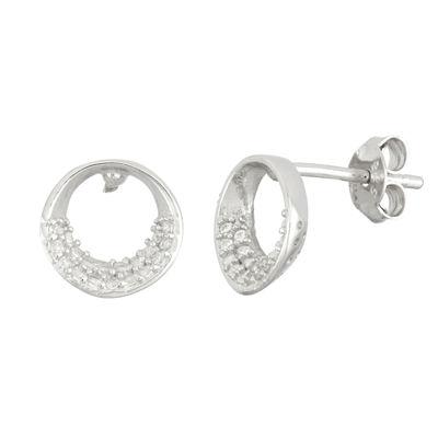 Diamonart 3/4 CT. T.W. White Cubic Zirconia Sterling Silver 10.2mm Stud Earrings