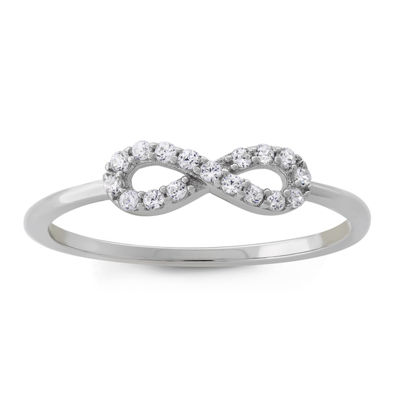 Diamonart Womens 1/5 CT. T.W. Lab Created White Cubic Zirconia Sterling Silver Infinity Stackable Ring