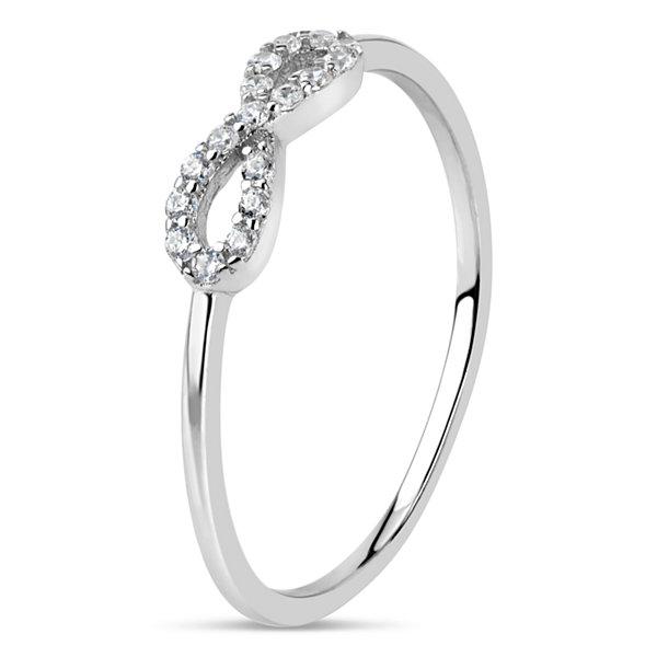 Diamonart Womens 1/5 CT. T.W. Synthetic Round White Cubic Zirconia Sterling Silver Stackable Ring
