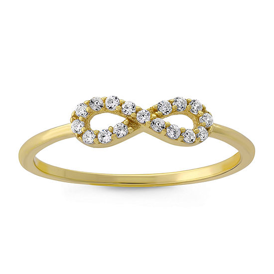 Diamonart Womens 1/5 CT. T.W. Lab Created White Cubic Zirconia 18K Gold Over Silver Infinity Stackable Ring