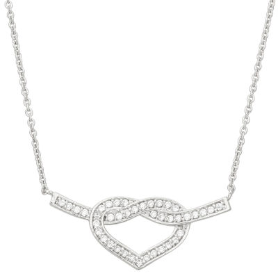 Diamonart Womens 1/2 CT. T.W. Lab Created White Cubic Zirconia Sterling Silver Heart Pendant Necklace