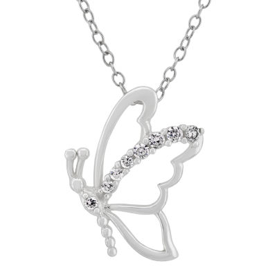 Diamonart Womens 1/4 CT. T.W. Lab Created White Cubic Zirconia Butterfly Pendant Necklace