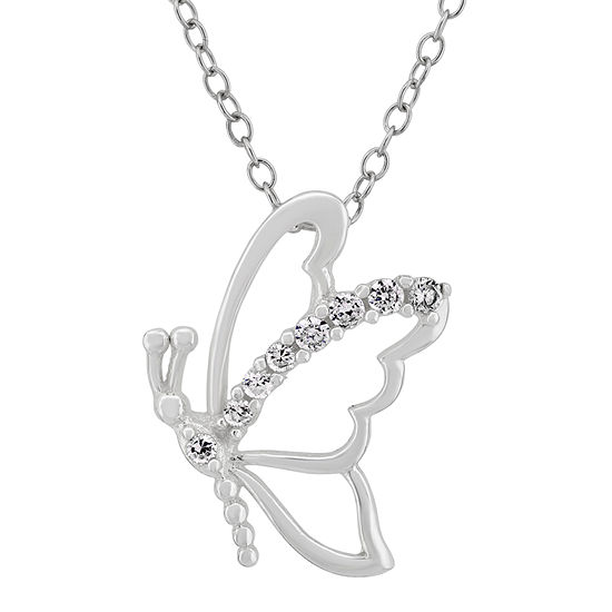 Diamonart Womens 1/4 CT. T.W. Lab Created White Cubic Zirconia Sterling Silver Butterfly Pendant Necklace