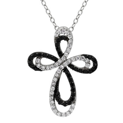 Diamonart Womens 1 1/8 Ct. T.W. Lab Created White Cubic Zirconia Sterling Silver Cross Pendant Necklace