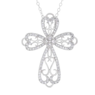Diamonart Womens 1 1/3 CT. T.W. Lab Created White Cubic Zirconia Sterling Silver Cross Pendant Necklace