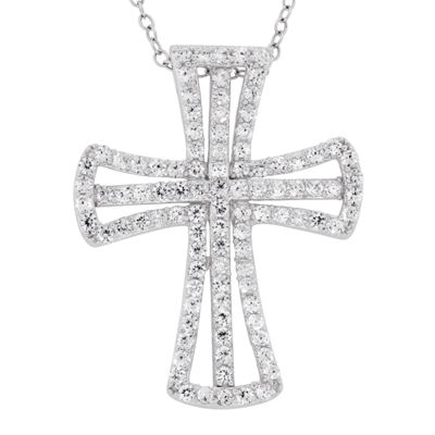 Diamonart Womens 2 3/4 CT. T.W. Lab Created White Cubic Zirconia Sterling Silver Cross Pendant Necklace