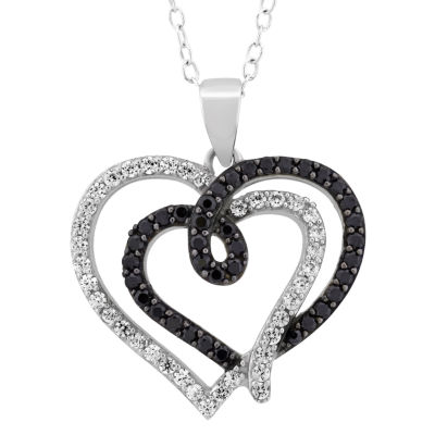 Diamonart Womens 1 1/3 CT. T.W. Lab Created White Cubic Zirconia Sterling Silver Heart Pendant Necklace