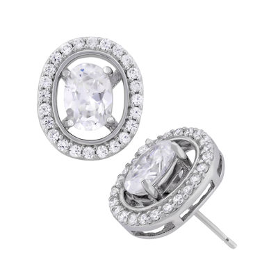 Diamonart 3 3/4 CT. T.W. Lab Created White Cubic Zirconia Sterling Silver 12mm Stud Earrings