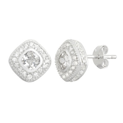 Diamonart 2 1/3 CT. T.W. Lab Created White Cubic Zirconia Sterling Silver 9mm Stud Earrings