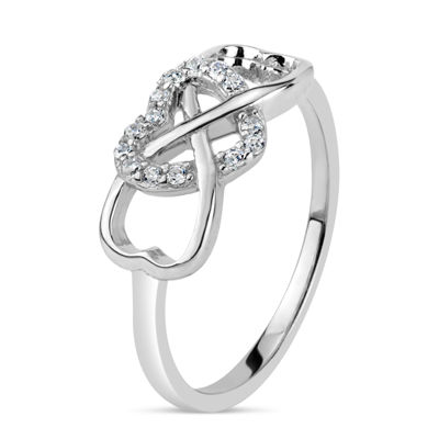 Diamonart Womens 3mm 1/5 CT. T.W. Lab Created White Cubic Zirconia Sterling Silver Heart Band