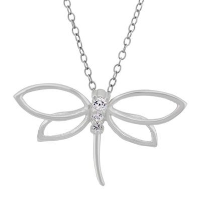 Diamonart Womens 1/4 CT. T.W. White Cubic Zirconia Sterling Silver Butterfly Pendant Necklace