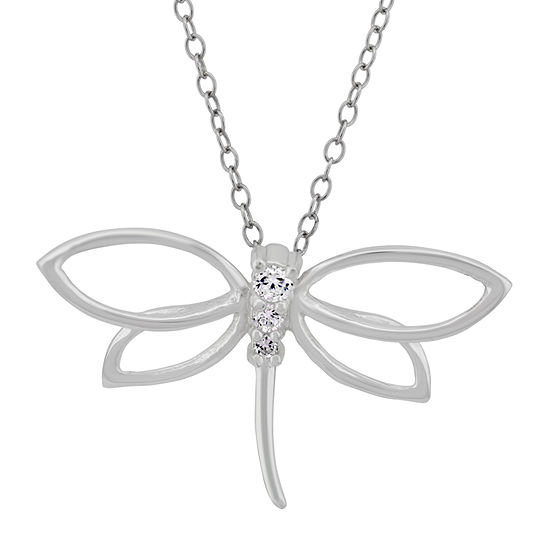 Diamonart Womens 1/4 CT. T.W. White Cubic Zirconia Butterfly Pendant Necklace