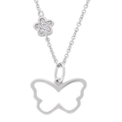 Diamonart Womens 1/10 CT. T.W. White Cubic Zirconia Sterling Silver Butterfly Pendant Necklace