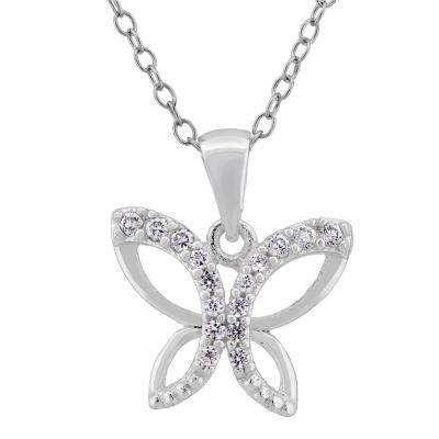 Diamonart Womens 1/3 CT. T.W. White Cubic Zirconia Sterling Silver Pendant Necklace