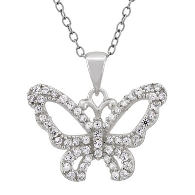 Diamonart Womens 1 CT. T.W. White Cubic Zirconia Sterling Silver Butterfly Pendant Necklace