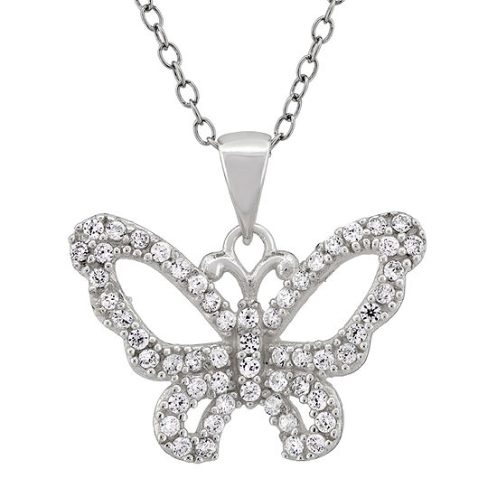 DiamonArt® Womens 1 CT. T.W. White Cubic Zirconia Sterling Silver Butterfly Pendant Necklace