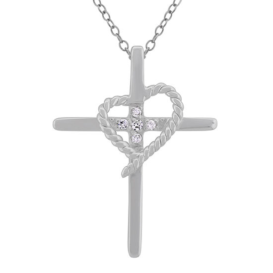 Diamonart Womens 1/6 CT. T.W. White Cubic Zirconia Sterling Silver Cross Pendant Necklace