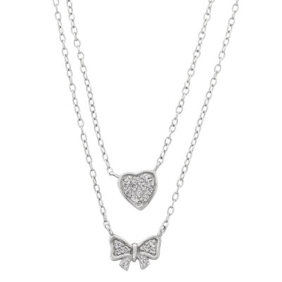 Diamonart Womens 1/3 CT. T.W. White Cubic Zirconia Sterling Silver Bow Pendant Necklace