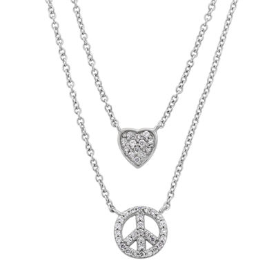 Diamonart Womens 1/2 CT. T.W. White Cubic Zirconia Sterling Silver Heart Pendant Necklace